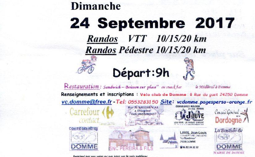 Sortie VTT du weekend 24/09/17